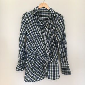 Zara Plaid Holiday Draped Tartan Tunic Blouse XL